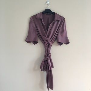 BCBGMaxazria Silk Wrap Top